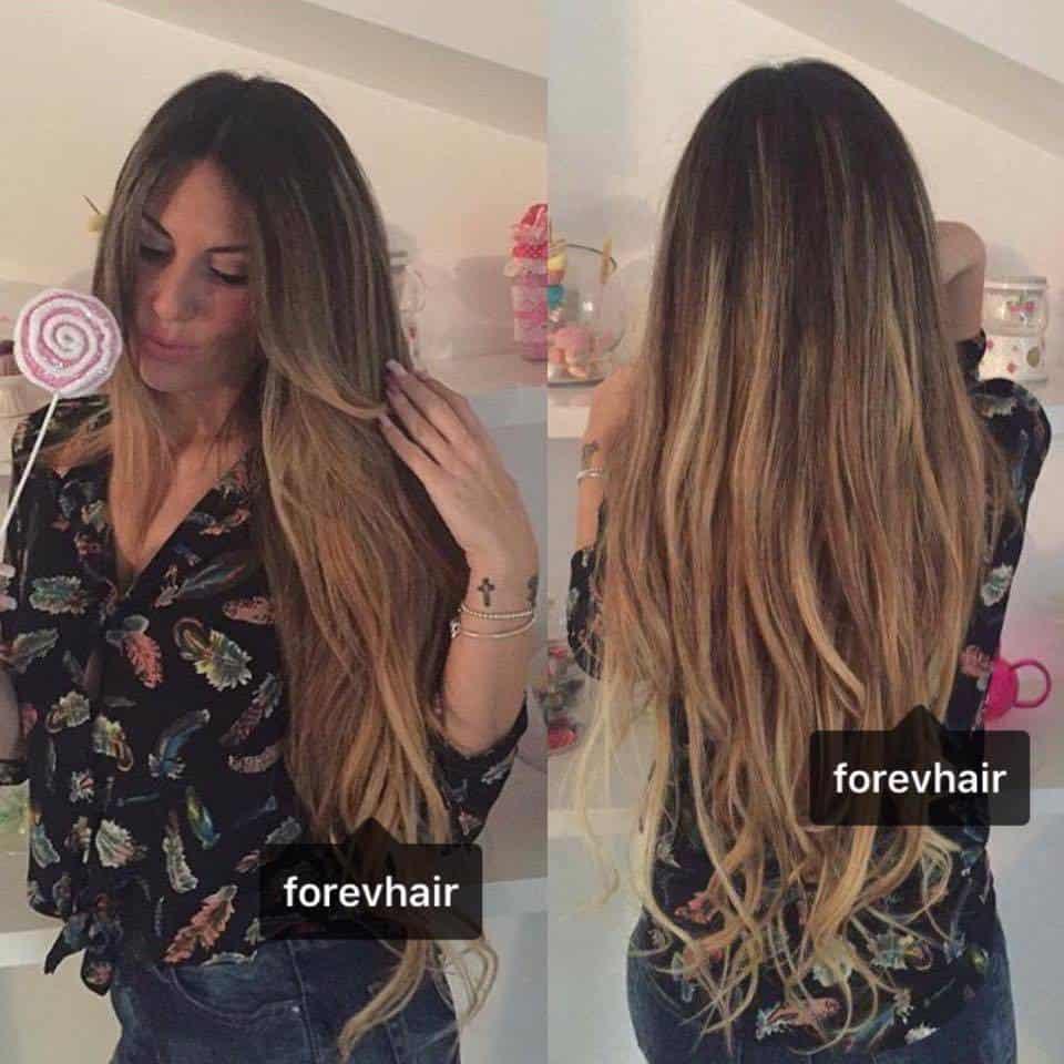 Extension capelli ricci prima e dopo